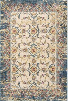 Cordoba Crd04 Ivory Blue Rectangle Rug 5'3'' X 7'3''