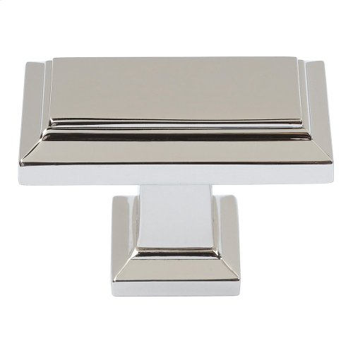 Sutton Place Rectangle Knob 1 7/16 Inch - Polished Nickel