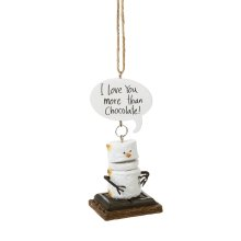 """Toasted S'mores """"I Love You More Than Chocolate!"""" Ornament."""