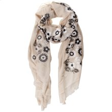 Ivory Floral Embroidered Scarf.