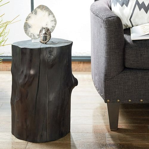 Hidden Treasures Charred Tree Trunk Accent Table