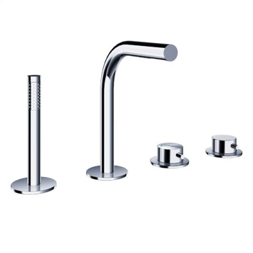 pure2 four-hole deck-mounted thermostatic tubfiller with handshower & flexible hose