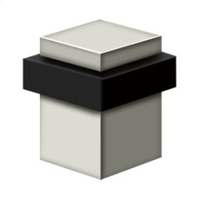 """Square Universal Floor Bumper 2-1/2"""", Solid Brass - Polished Nickel"""