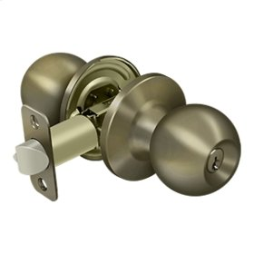 Round Knob Entry - Antique Brass