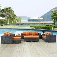 Summon 9 Piece Outdoor Patio Sunbrella® Sectional Set in Canvas Tuscan