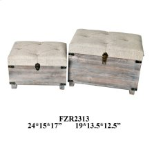 24X15X17 & 19X13.5X12.5 NEST PACK WOODEN TRUNK. 1 SET 4.56'