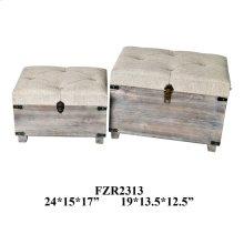 24X15X17 & 19X13.5X12.5 NEST PACK WOODEN TRUNK. 1 SET 4.56'