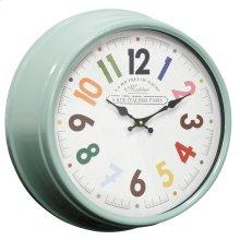 Metal & Glass Wall Clock  14in X 14in X 5in