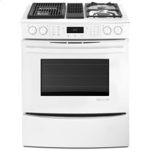 White Jenn-Air® Slide-In Modular Dual-Fuel Downdraft Range with Convection, 30""