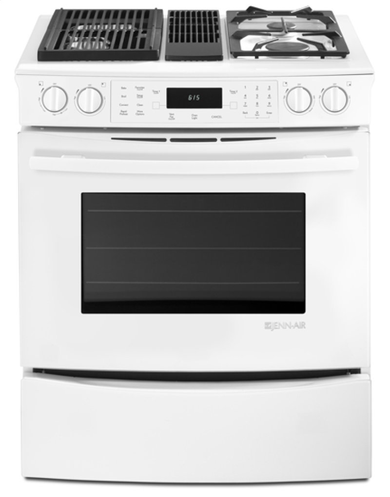 Jds9860cdw In White By Jenn Air Melrose Ma Slide Modular Dual Fuel Downdraft Range With Convection 30