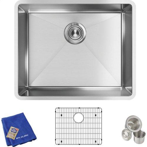 "Elkay Crosstown Stainless Steel 22-1/2"" x 18-1/2"" x 9"", Single Bowl Undermount Sink Kit"