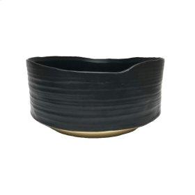 """Ceramic 10.75"""" Planter, Black/beige"""