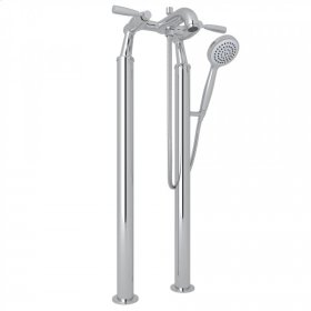 Polished Chrome Perrin & Rowe Holborn Floor Mount Bathtub Filler Handshower with Holborn Metal Lever