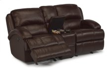 Fast Lane Leather Gliding Reclining Loveseat with Console