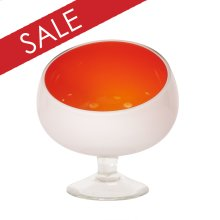 Opaque Orange Hand-blown Glass Bowl with White Outside and Clear Glass Foot - Small