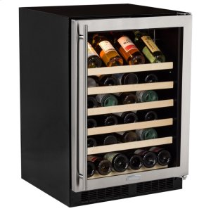 "MarvelMarvel 24"" Standard Efficiency Single Zone Wine Refrigerator - Stainless Steel Frame Glass Door* - Left Hinge, Stainless Designer Handle"