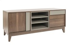 "TV Base In Walnut Veneer / 1 Door With 1 Adjustable Wood Shelf / 2 Drawers With ""quadro"" Slides"
