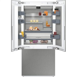 "Gaggenau400 series 400 series three-door bottom freezer With fresh cooling close to 32 (degree)F Fully integrated Niche width 36"" (91.4 cm)"