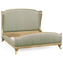 Cali King Louis XV Gilded Bed, Upholstered in Duck Egg Silk