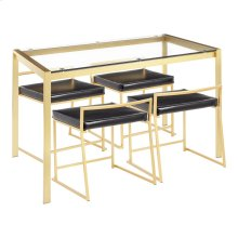 Fuji Dinette Set - Gold Metal, Clear Glass, Black Pu