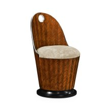 Feather Inlay Dressing Chair, Upholstered in Calico Velvet