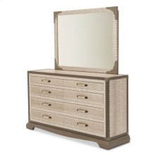 Upholstered 2 PC Dresser W/ Mirror Amazon Tan Gator