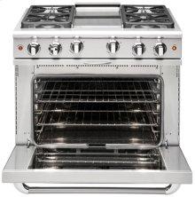 "36"" four Sealed Burner + BBQ Burner, all gas, manual clean range, Liquid Propane"