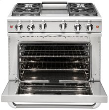 "36"" four Sealed Burner + BBQ Burner, all gas, manual clean range, Liquid Propane"