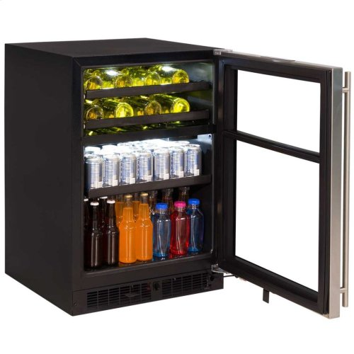 "Marvel 24"" Dual Zone Wine and Beverage Center - Panel-Ready Framed Glass Overlay Door - Integrated Left Hinge"