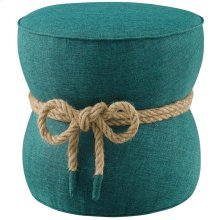 Beat Nautical Rope Upholstered Fabric Ottoman in Teal