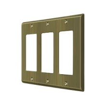 Switch Plate, Triple Rocker - Antique Brass