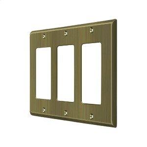 Switch Plate, Triple Rocker - Antique Brass