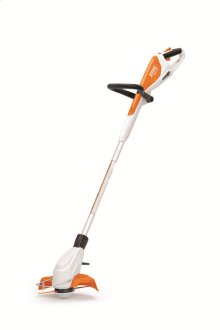 An affordable string trimmer including a built-in battery and adjustable shaft length.