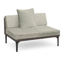 "55"" Dark Grey Rattan Two-Seat Centre Sofa Sectional, Upholstered in Standard Outdoor Fabric"
