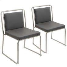 Cascade Dining Chair - Set Of 2 - Stainless Steel, Grey Pu