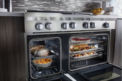 48'' 6-Burner with Griddle, Dual Fuel Freestanding Range, Commercial-Style - Imperial White