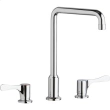 """Elkay 8"""" Centerset Concealed Deck Mount Faucet with Arc Tube Spout and 4"""" Lever Handles Chrome"""