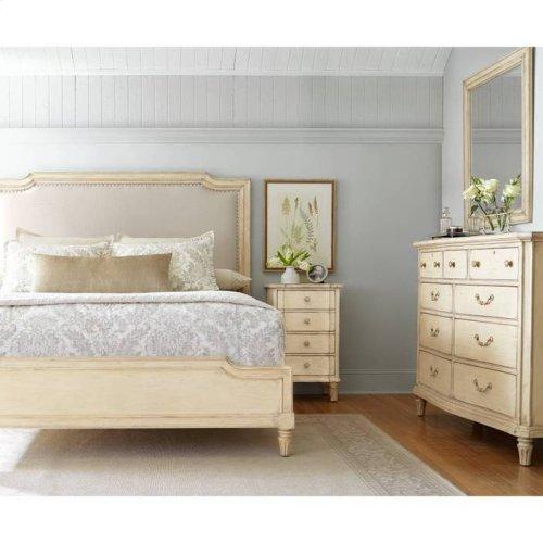 European Cottage Upholstered Bed - Vintage White / King