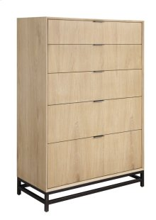 Emerald Home Aden 5 Drawer Chest W/metal Base Wood-linen, Metal-charcoal B735-05