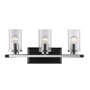 Mercer 3 Light Bath Vanity in Black with Seeded Glass