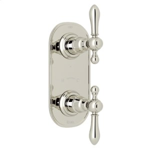 """Polished Nickel Arcana Trim For 1/2"""" Thermostatic/Diverter Control Rough Valve with Arcana Ornate Metal Lever"""