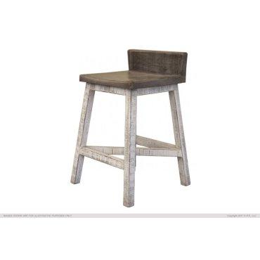 "24"" Stool -with wooden seat & base- Stone finish"