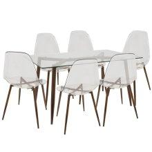 Clara 7-piece Dining Set - Walnut Metal, Clear