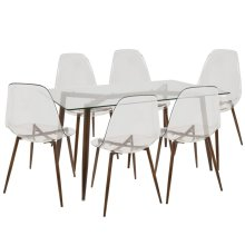 Clara 7-piece Dining Set - Walnut Metal, Clear