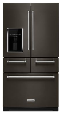 Ft. 36\  Multi-Door Freestanding Refrigerator with Platinum Interior Design & KRMF706EBS in Black Stainless by KitchenAid in Stephenville TX ...