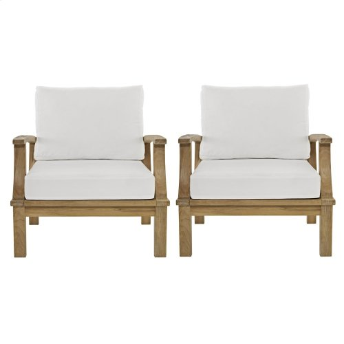 Marina 2 Piece Outdoor Patio Teak Set in Natural White