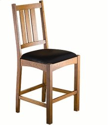 Mission Slat Counter Chair w/ Leather Seat