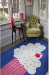 Cupcakes Blueberry Loop Hooked Rugs