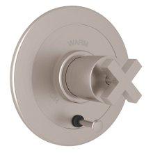 Satin Nickel Avanti Integrated Volume Control Pressure Balance Trim With Diverter with Cross Handle