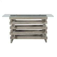 "Complete Sofa Table-rectangular 52""x17"" Glass Top W/pine Wood Pedestal Base-driftwood Finish"